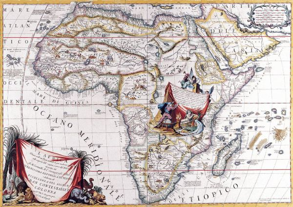 Coronelli, Vincenzo: Map of Africa. Antique/Vintage 17th Century Map. Fine Art Print/Poster. Sizes: A4/A3/A2/A1 (003878)
